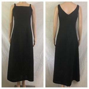 Banana Republic Factory Dress Sz 0 Black Linen Max